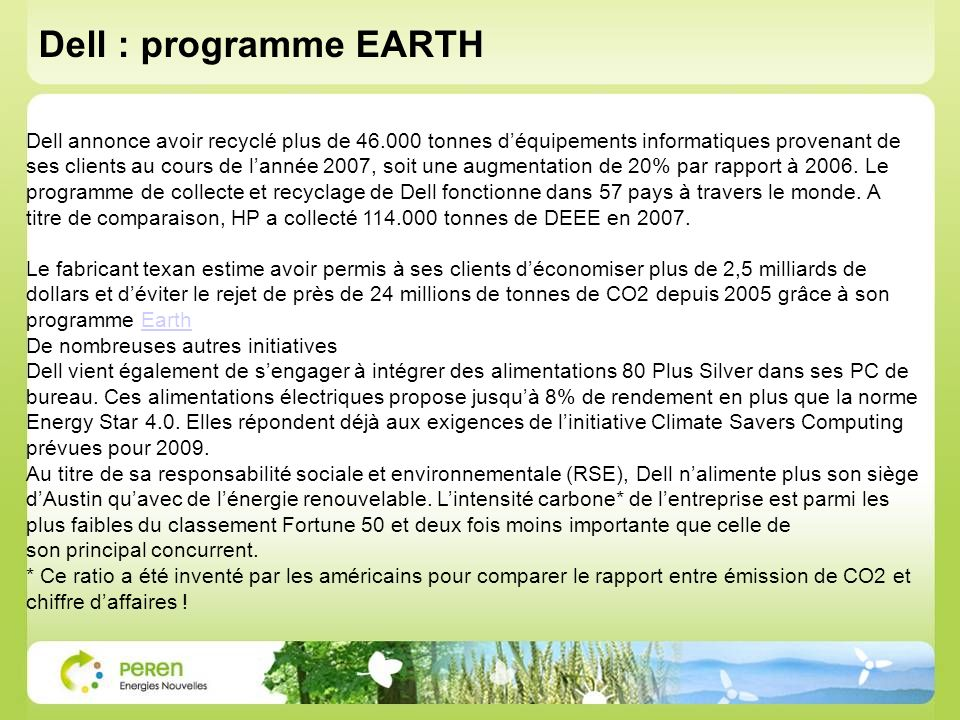 Dell : programme EARTH