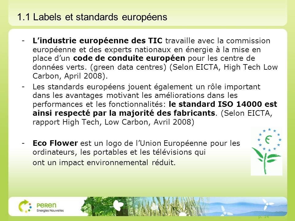1.1 Labels et standards européens