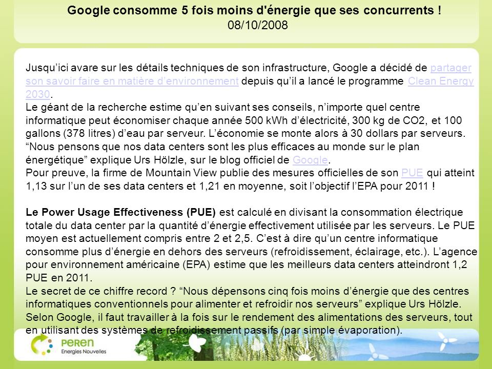 Google consomme 5 fois moins d énergie que ses concurrents !