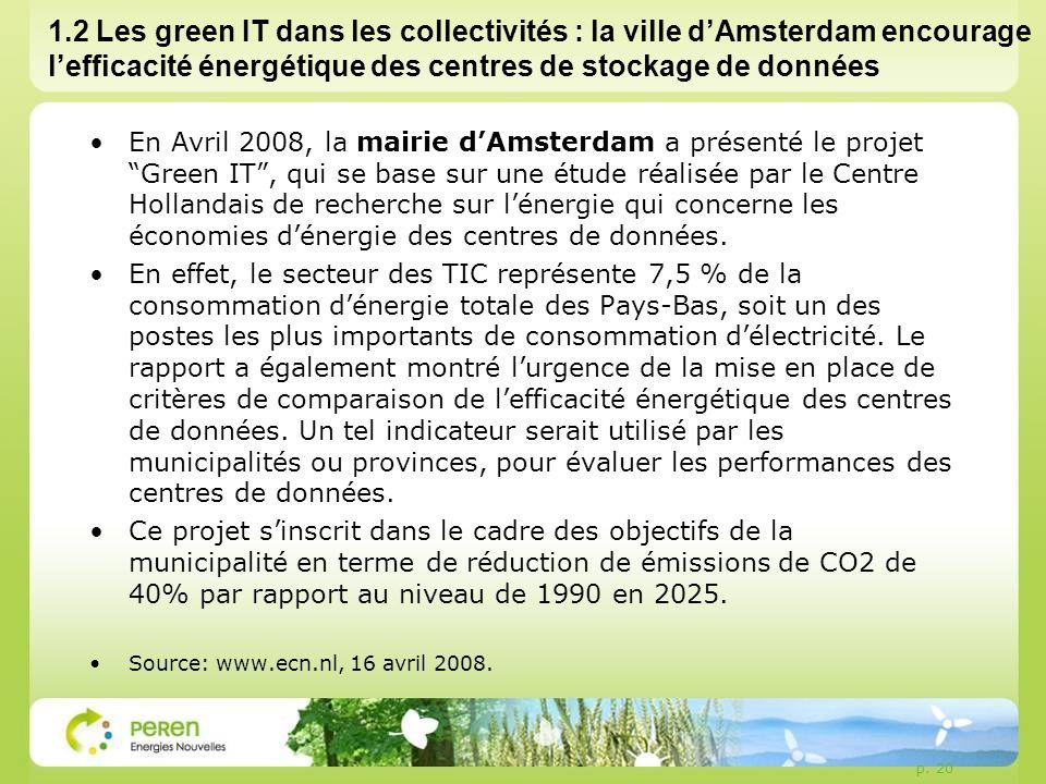 1.2 Les green IT dans les collectivités : la ville d'Amsterdam encourage l'efficacité énergétique des centres de stockage de données