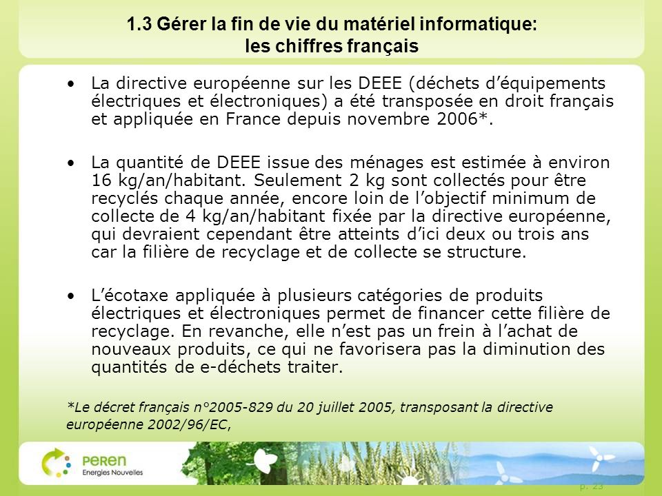 1.3 Gérer la fin de vie du matériel informatique: les chiffres français