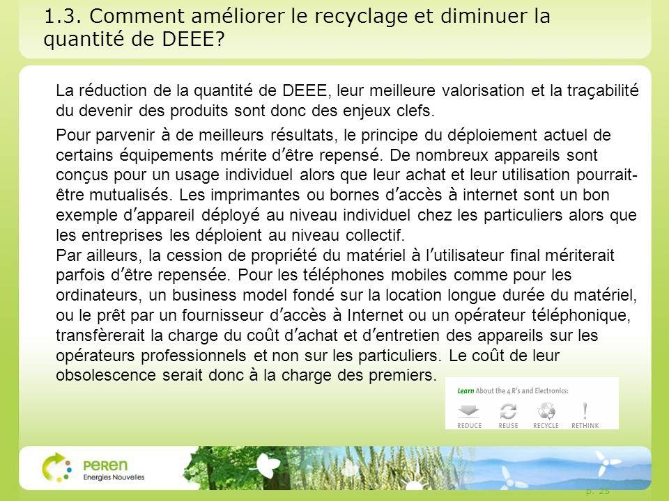 1.3. Comment améliorer le recyclage et diminuer la quantité de DEEE