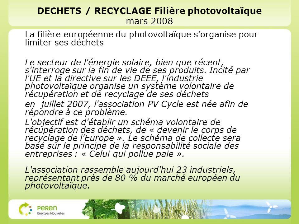 DECHETS / RECYCLAGE Filière photovoltaïque mars 2008