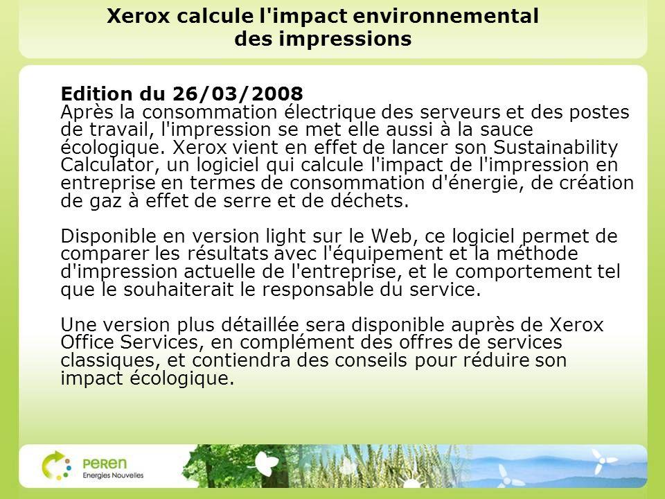 Xerox calcule l impact environnemental des impressions