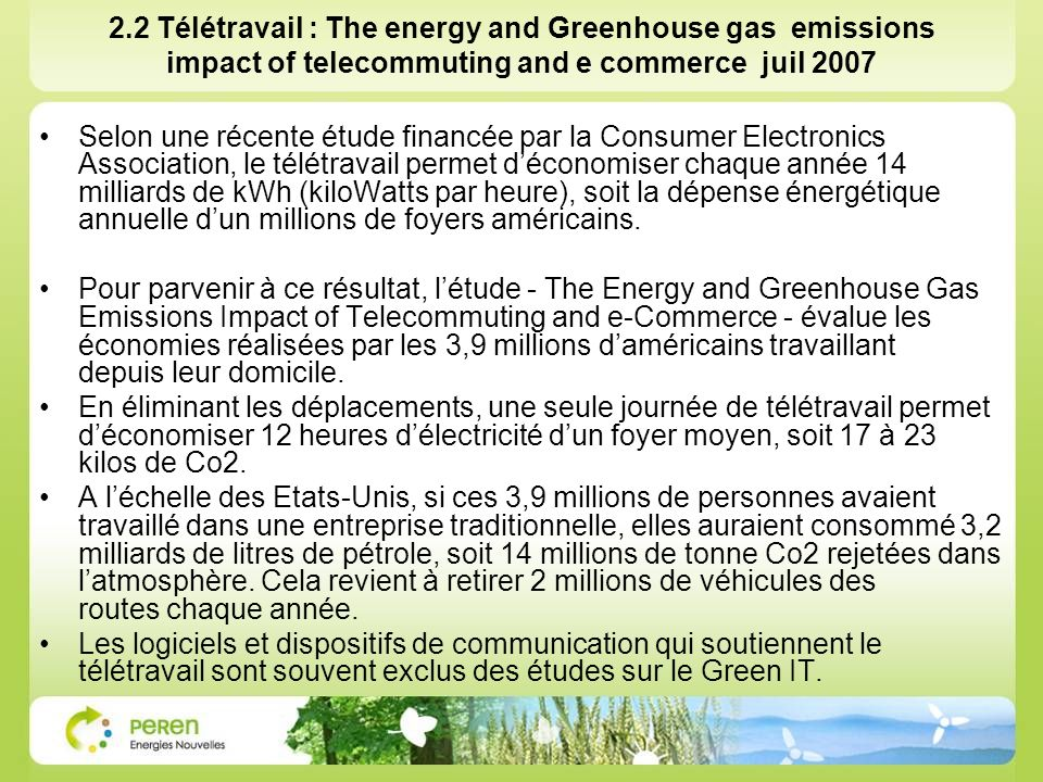 2.2 Télétravail : The energy and Greenhouse gas emissions impact of telecommuting and e commerce juil 2007