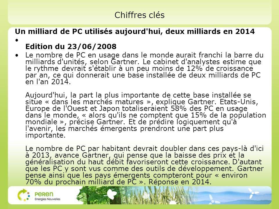Chiffres clés Un milliard de PC utilisés aujourd hui, deux milliards en 2014. Edition du 23/06/2008.