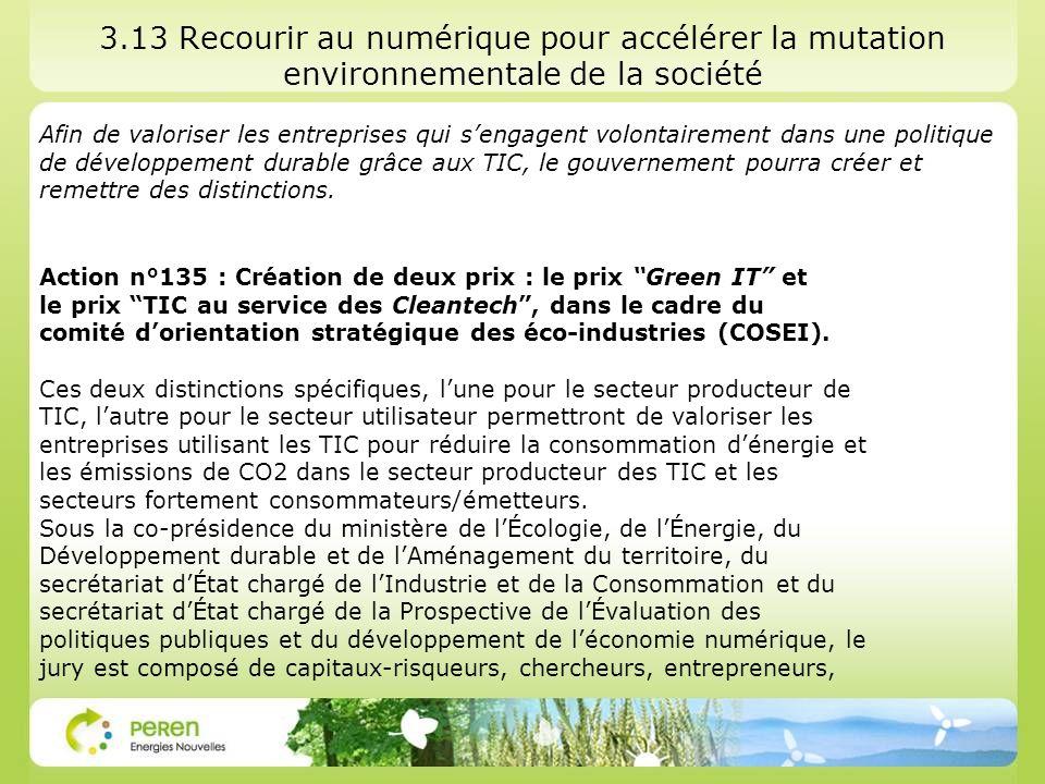 3.13 Recourir au numérique pour accélérer la mutation environnementale de la société