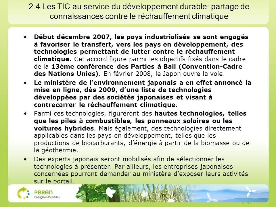 2.4 Les TIC au service du développement durable: partage de connaissances contre le réchauffement climatique