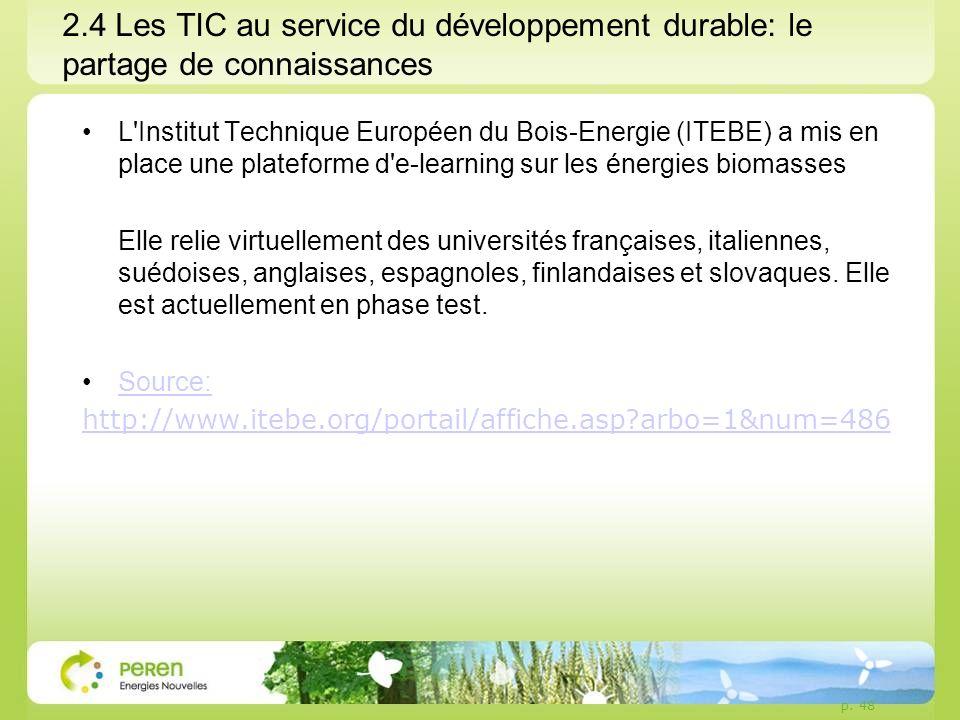 2.4 Les TIC au service du développement durable: le partage de connaissances