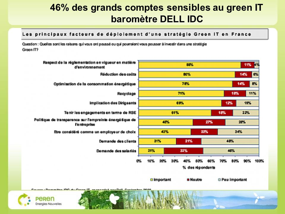 46% des grands comptes sensibles au green IT