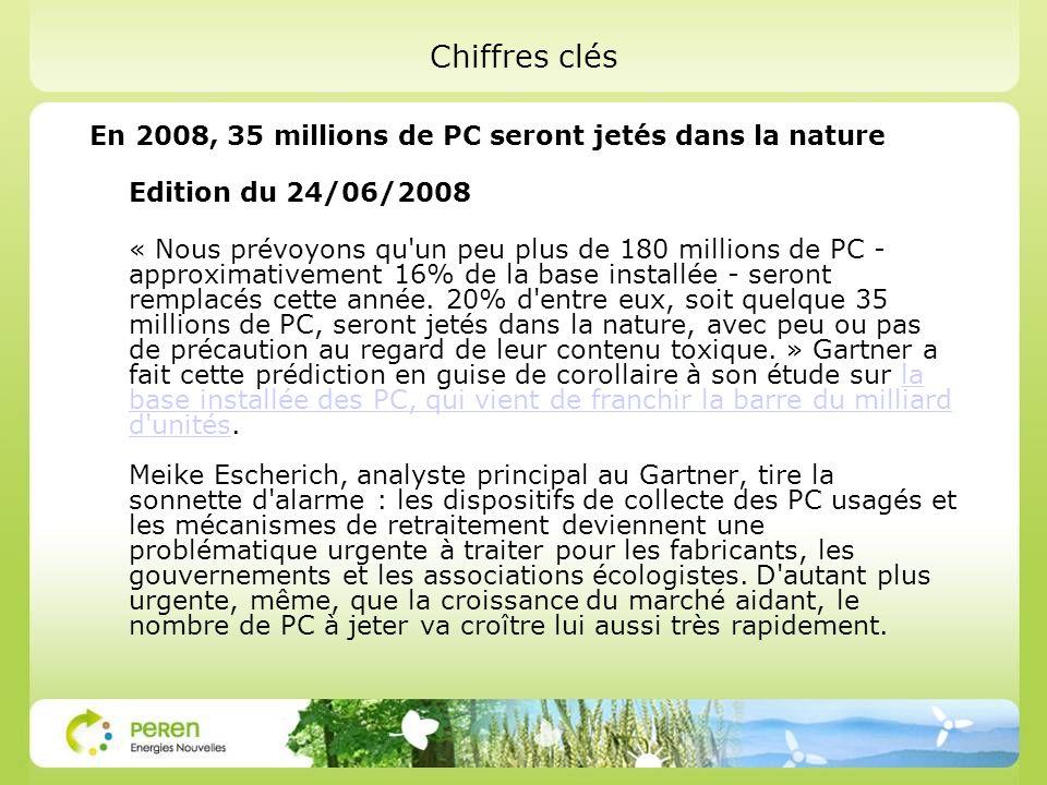 Chiffres clés En 2008, 35 millions de PC seront jetés dans la nature