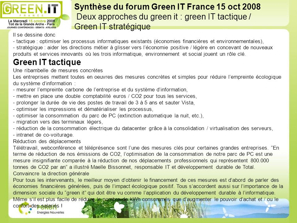 Synthèse du forum Green IT France 15 oct 2008
