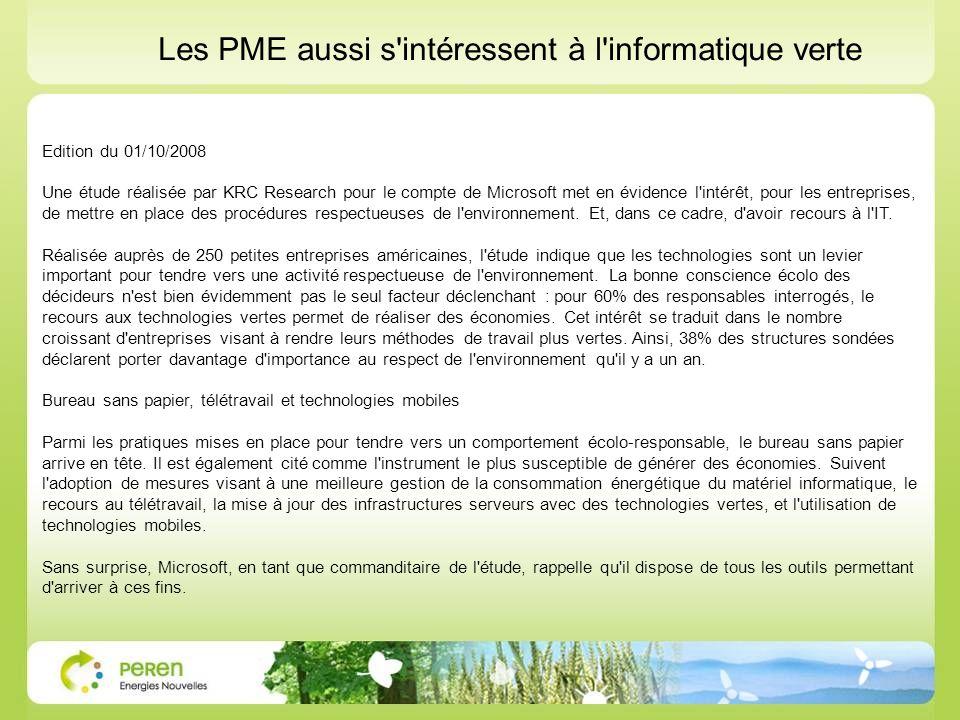 Les PME aussi s intéressent à l informatique verte
