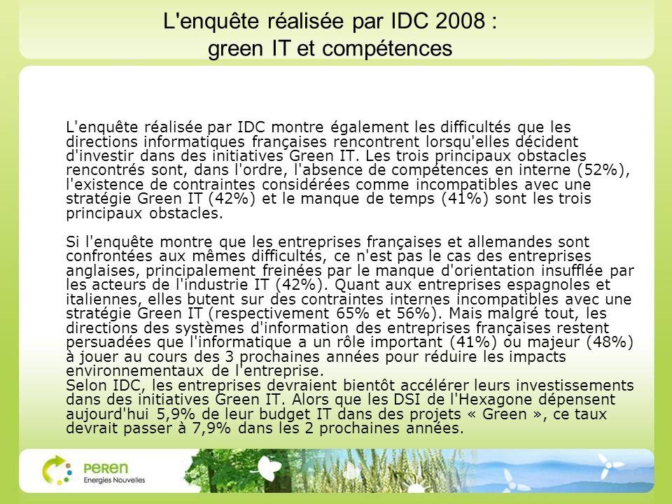 L enquête réalisée par IDC 2008 : green IT et compétences