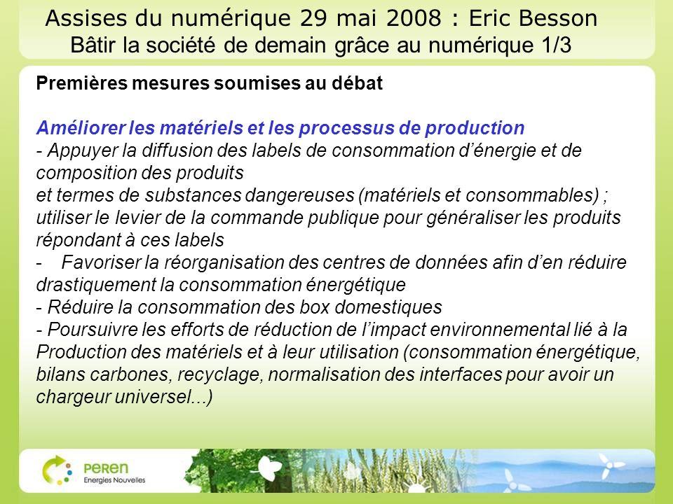 Assises du numérique 29 mai 2008 : Eric Besson Bâtir la société de demain grâce au numérique 1/3