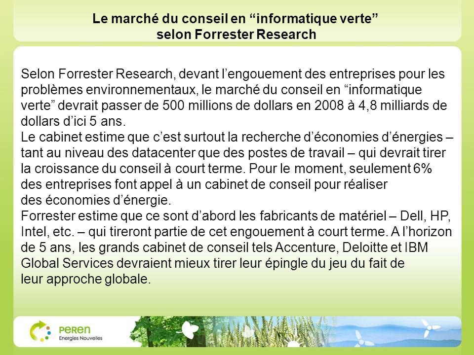 Le marché du conseil en informatique verte selon Forrester Research