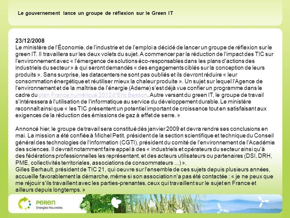 Le gouvernement lance un groupe de réflexion sur le Green IT