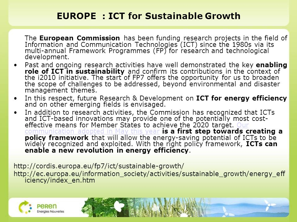EUROPE : ICT for Sustainable Growth