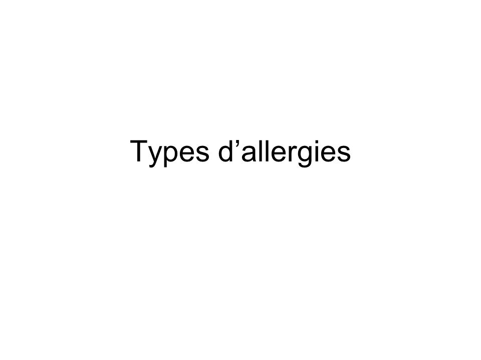 Types d'allergies