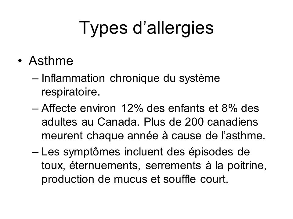 Types d'allergies Asthme