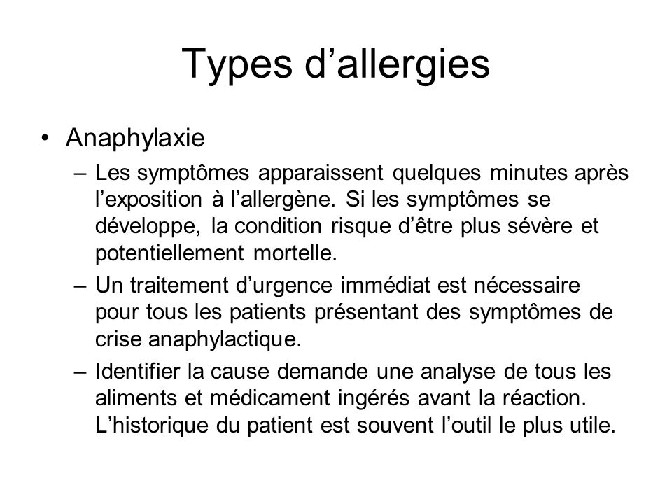Types d'allergies Anaphylaxie