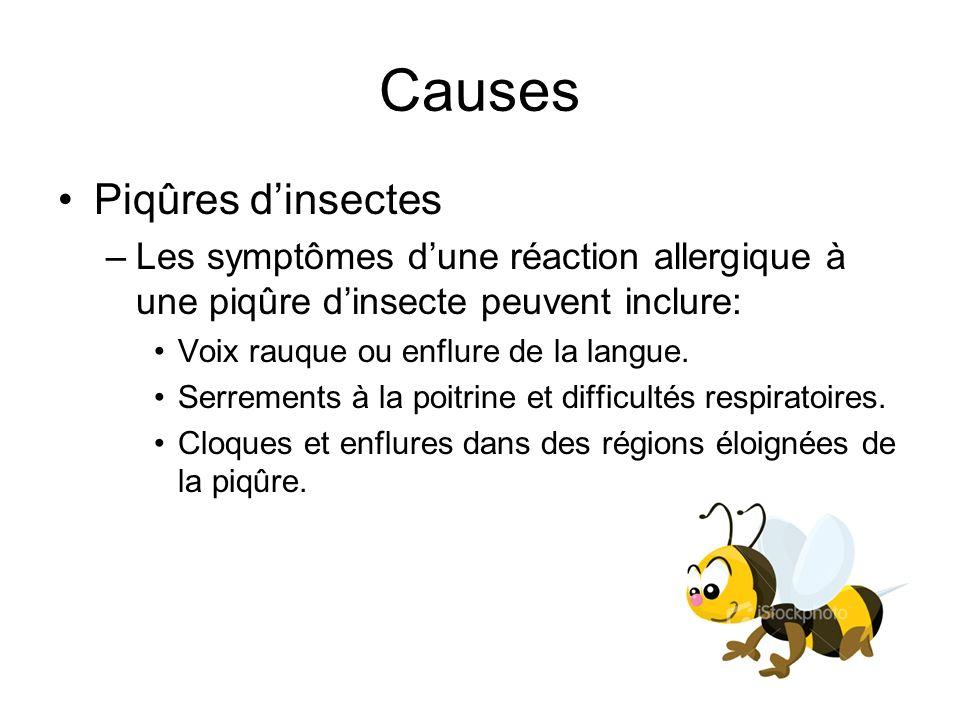 Causes Piqûres d'insectes