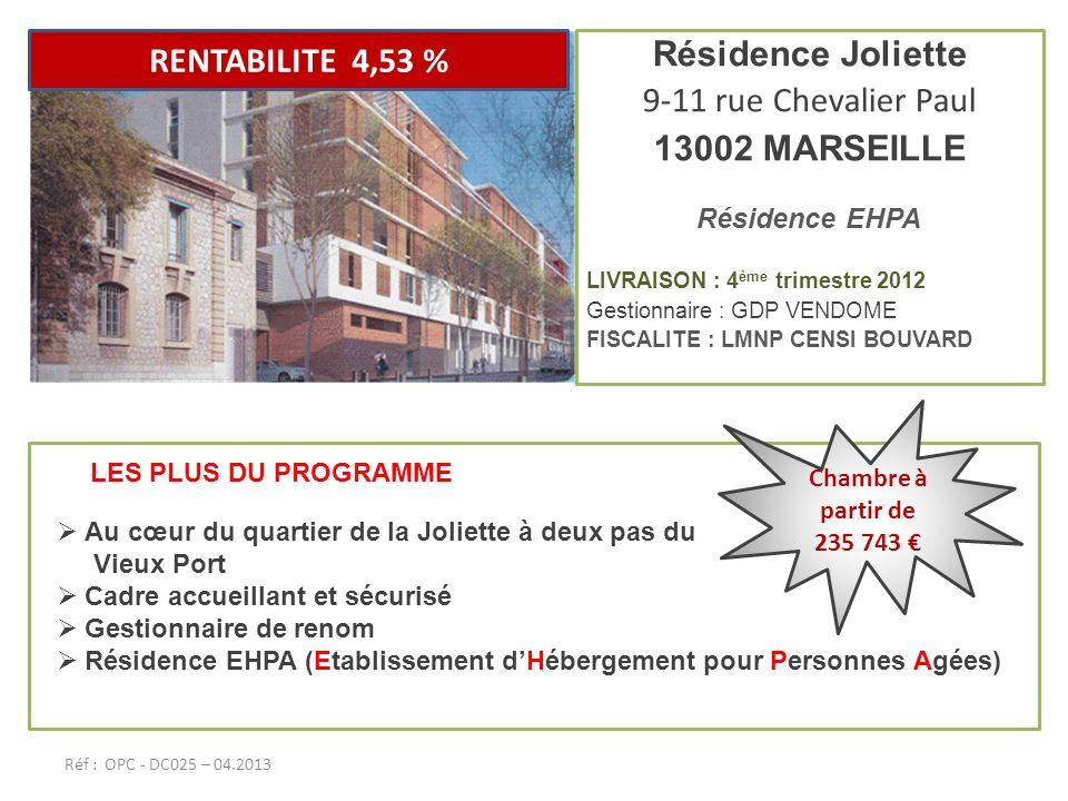 RENTABILITE 4,53 % Résidence Joliette 9-11 rue Chevalier Paul