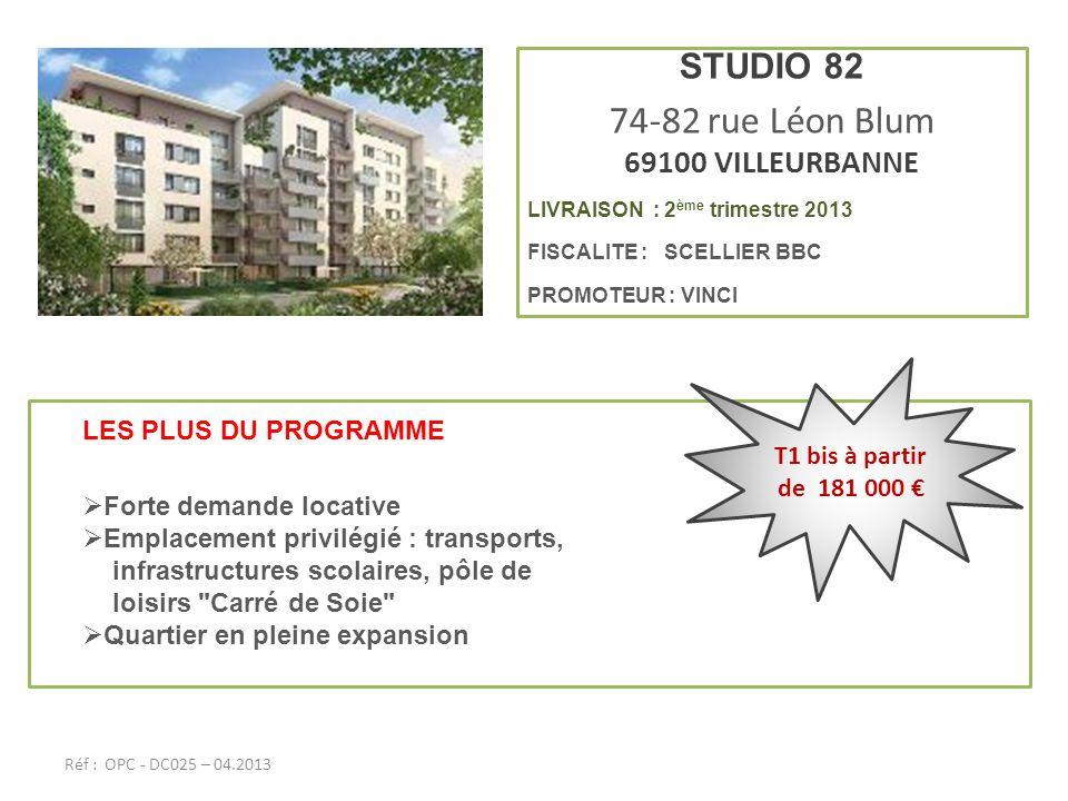 74-82 rue Léon Blum STUDIO 82 69100 VILLEURBANNE