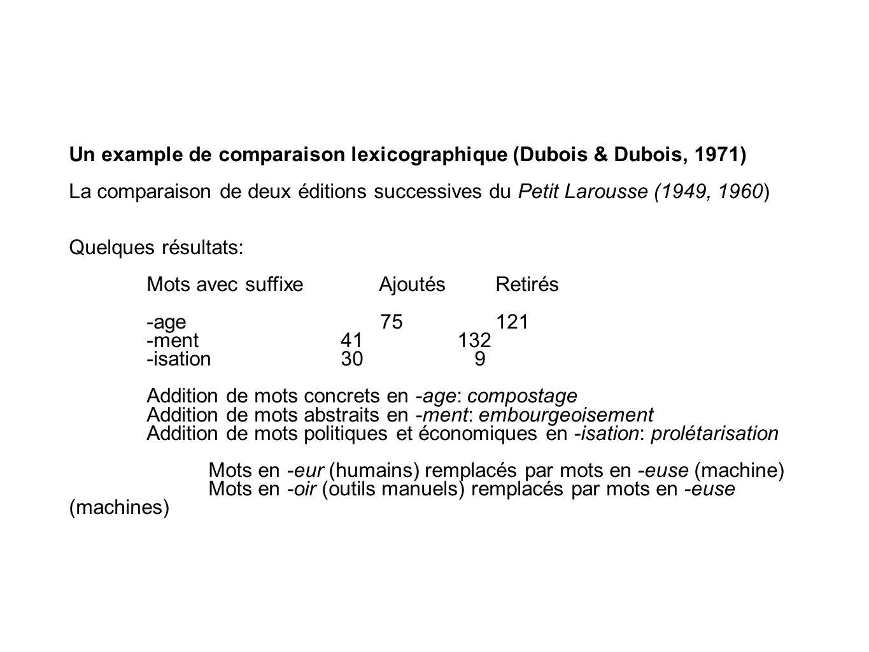 Un example de comparaison lexicographique (Dubois & Dubois, 1971)