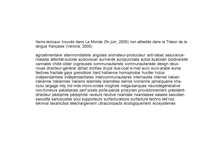 Items lexicaux trouvés dans Le Monde (fin juin, 2005) non attestés dans le Trésor de la langue française (Véronis, 2005)