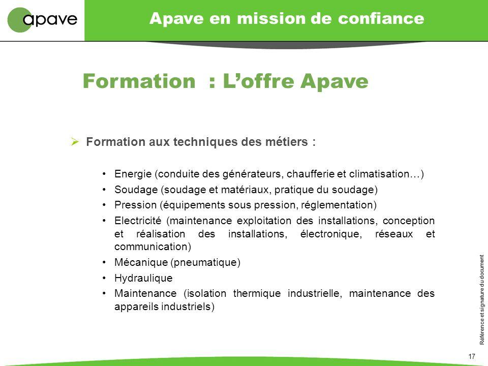 Formation : L'offre Apave