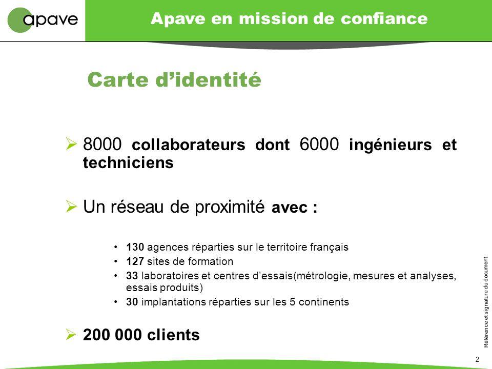 Carte d'identité 8000 collaborateurs dont 6000 ingénieurs et techniciens. Un réseau de proximité avec :