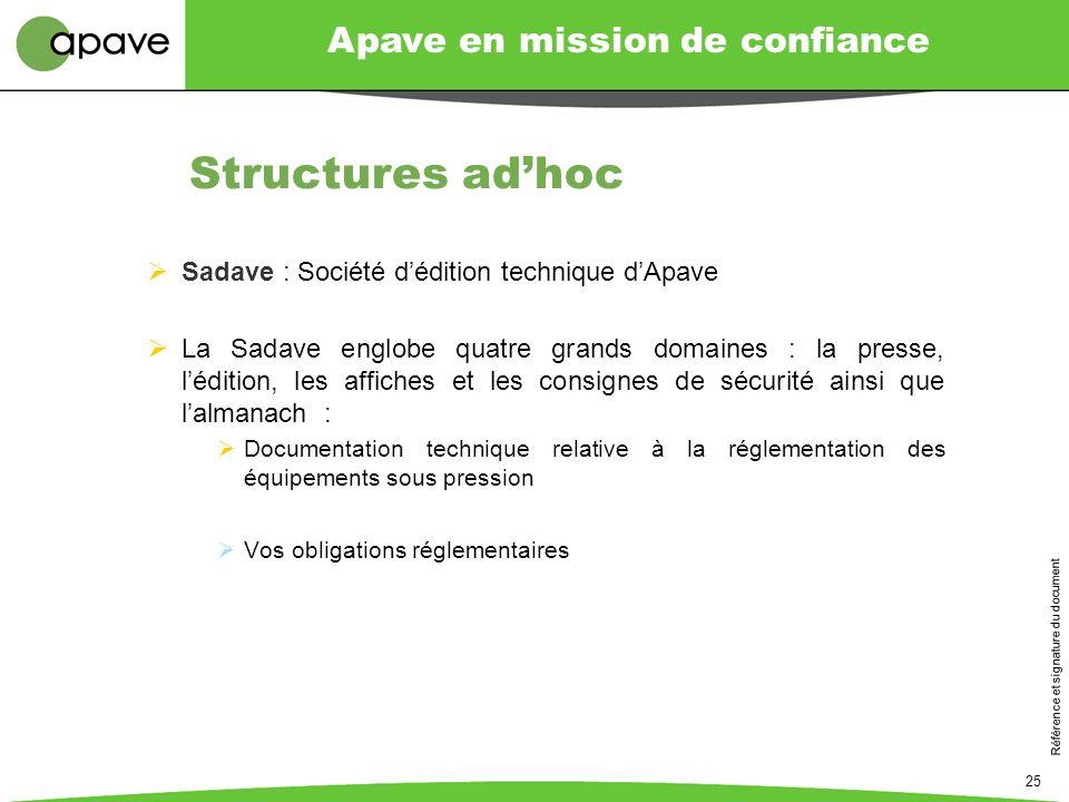 Structures ad'hoc Sadave : Société d'édition technique d'Apave