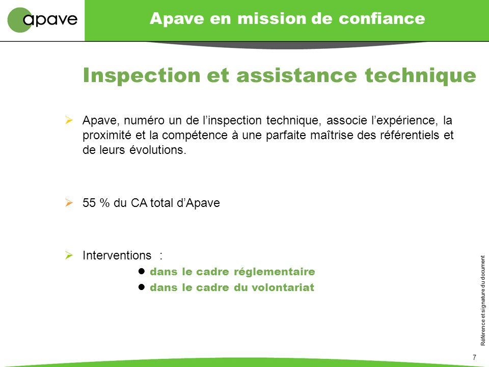 Inspection et assistance technique