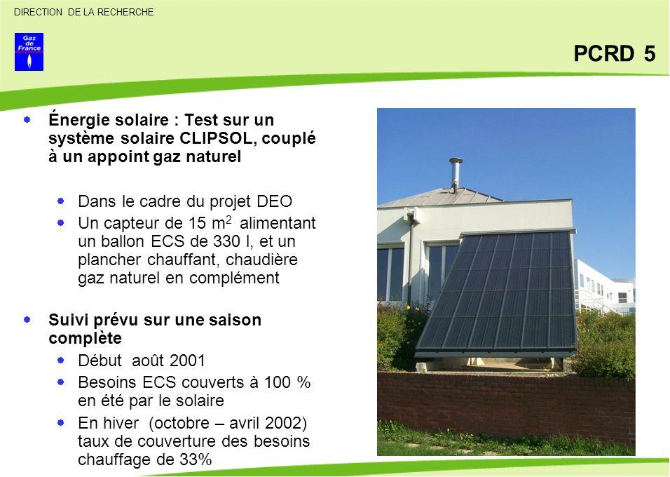 PCRD 5 Énergie solaire : Test sur un système solaire CLIPSOL, couplé à un appoint gaz naturel. Dans le cadre du projet DEO.