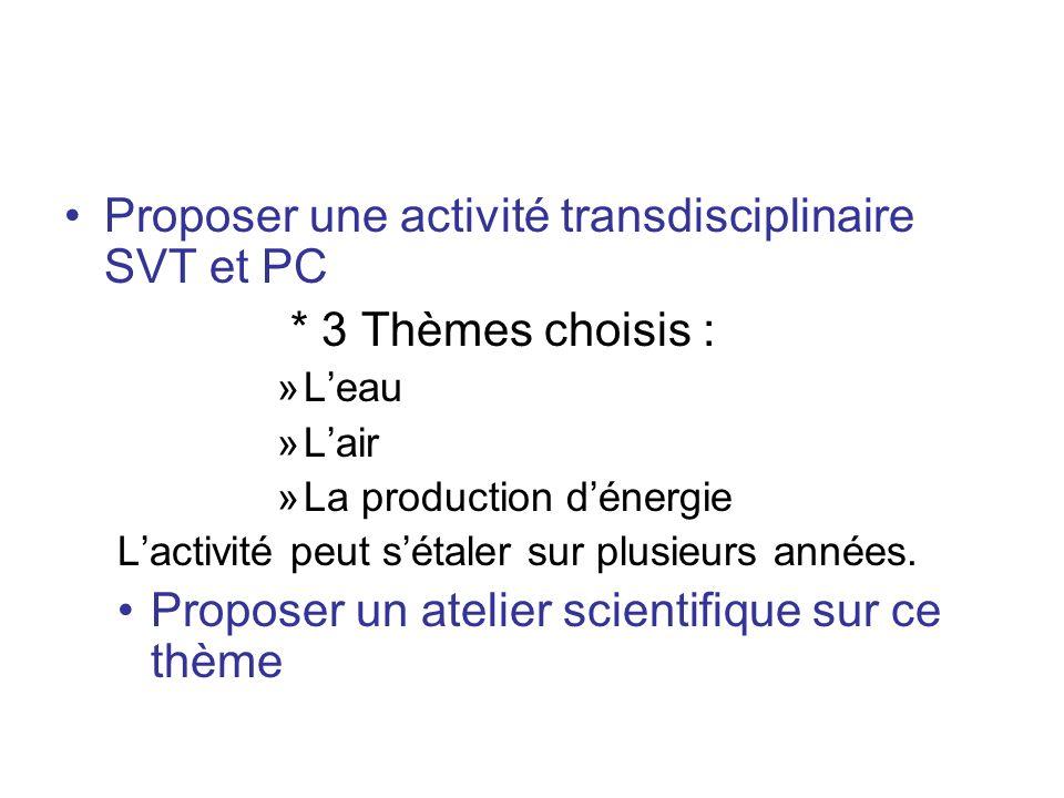 Proposer une activité transdisciplinaire SVT et PC