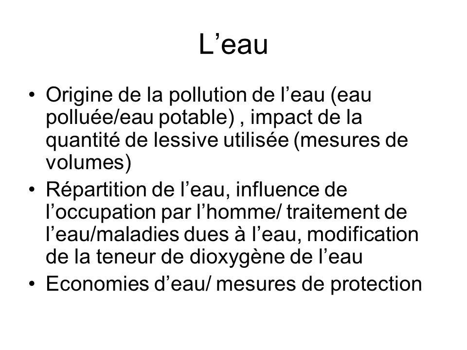 L'eau Origine de la pollution de l'eau (eau polluée/eau potable) , impact de la quantité de lessive utilisée (mesures de volumes)