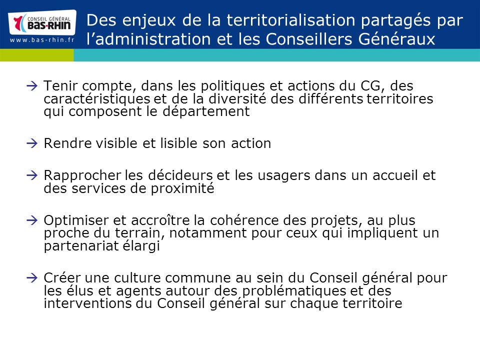 Des enjeux de la territorialisation partagés par l'administration et les Conseillers Généraux