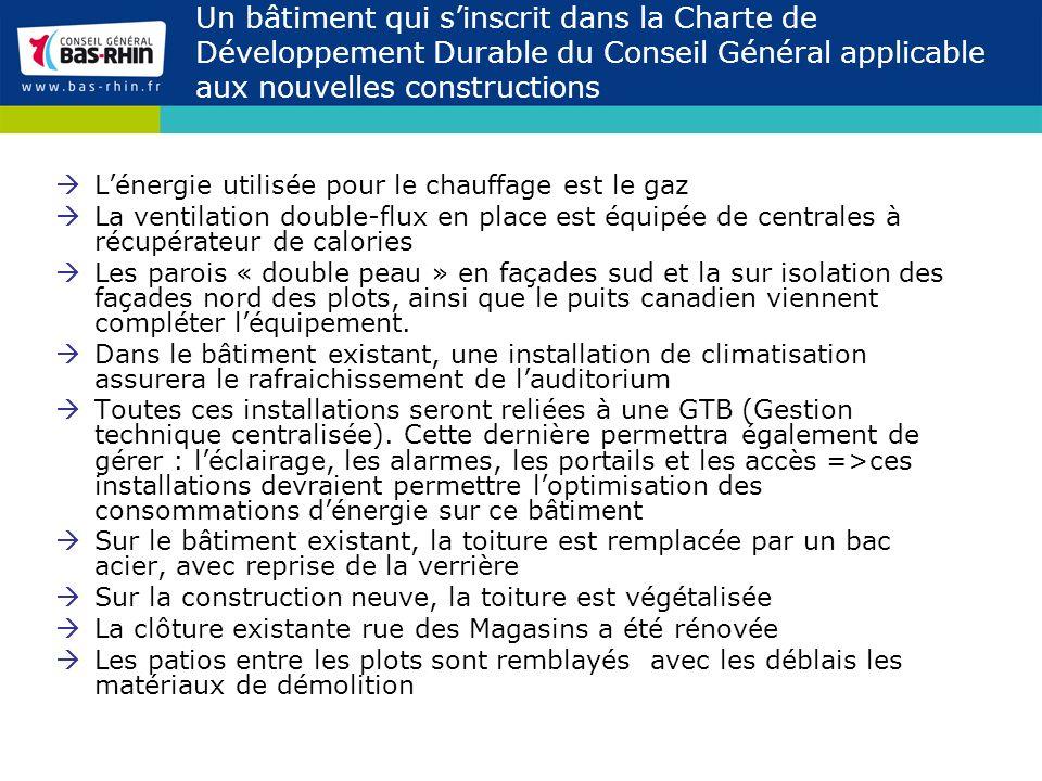 Un bâtiment qui s'inscrit dans la Charte de Développement Durable du Conseil Général applicable aux nouvelles constructions