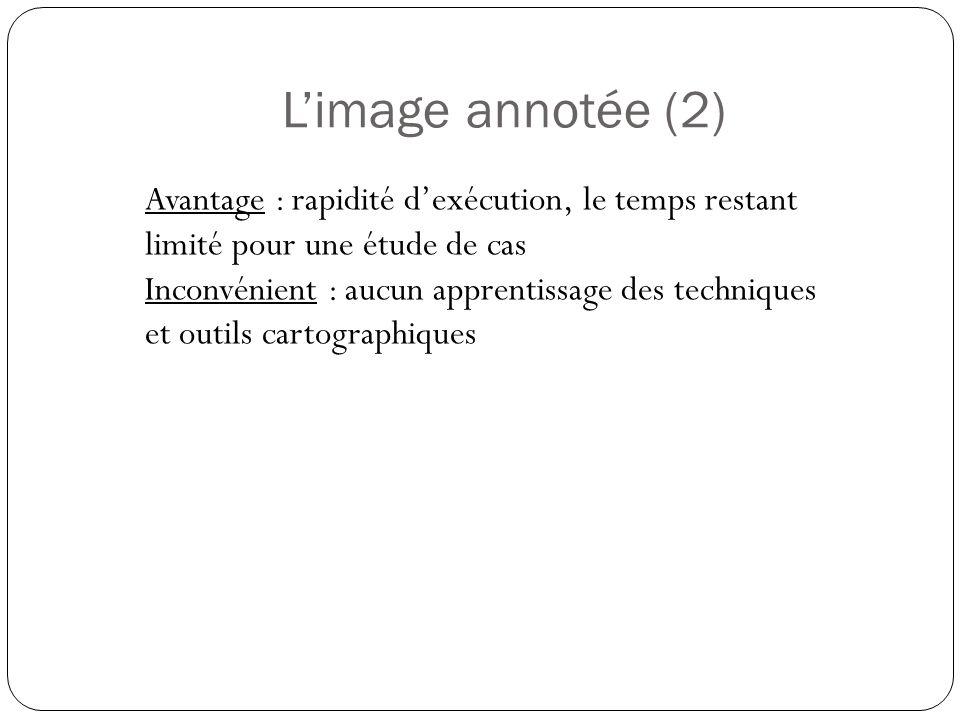 L'image annotée (2) Avantage : rapidité d'exécution, le temps restant limité pour une étude de cas.