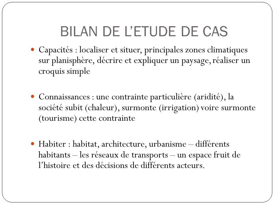 BILAN DE L'ETUDE DE CAS