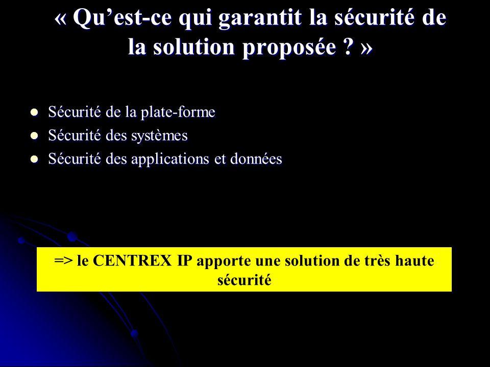 « Qu'est-ce qui garantit la sécurité de la solution proposée »