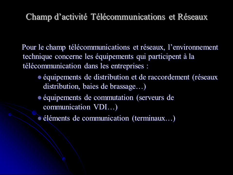 Champ d'activité Télécommunications et Réseaux