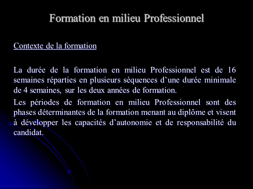Formation en milieu Professionnel