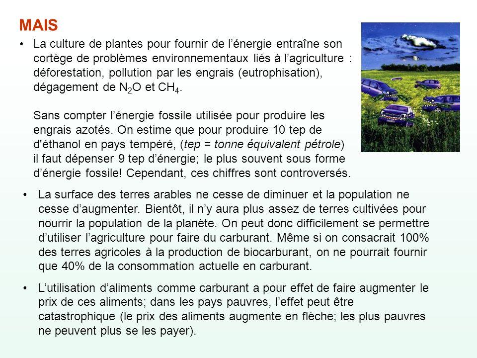 La culture de plantes pour fournir de l'énergie entraîne son cortège de problèmes environnementaux liés à l'agriculture : déforestation, pollution par les engrais (eutrophisation), dégagement de N2O et CH4. Sans compter l'énergie fossile utilisée pour produire les engrais azotés. On estime que pour produire 10 tep de d éthanol en pays tempéré, (tep = tonne équivalent pétrole) il faut dépenser 9 tep d'énergie; le plus souvent sous forme d'énergie fossile! Cependant, ces chiffres sont controversés.