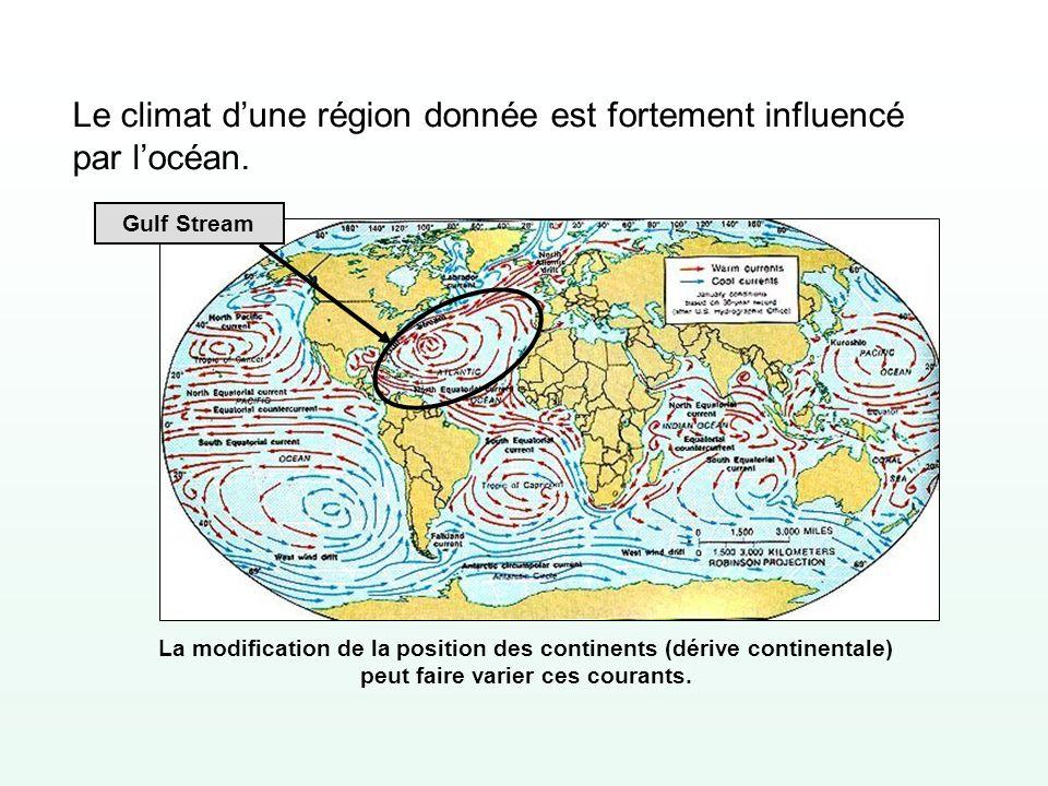 Le climat d'une région donnée est fortement influencé par l'océan.