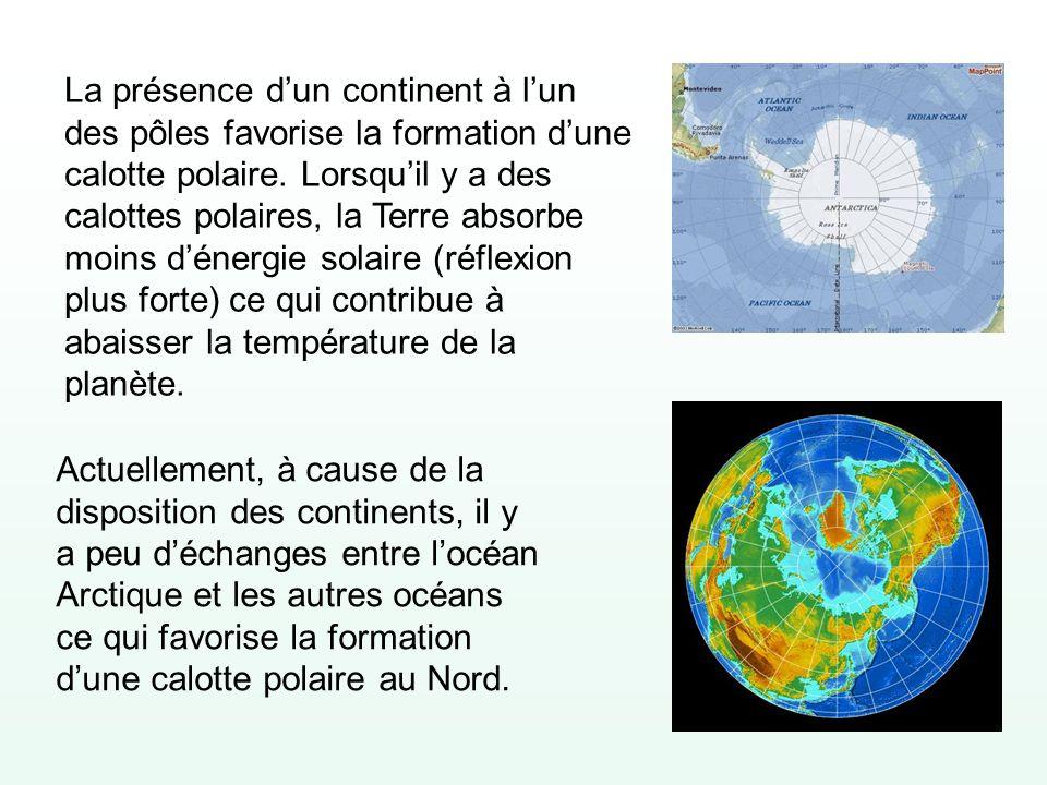 La présence d'un continent à l'un des pôles favorise la formation d'une calotte polaire. Lorsqu'il y a des calottes polaires, la Terre absorbe moins d'énergie solaire (réflexion plus forte) ce qui contribue à abaisser la température de la planète.