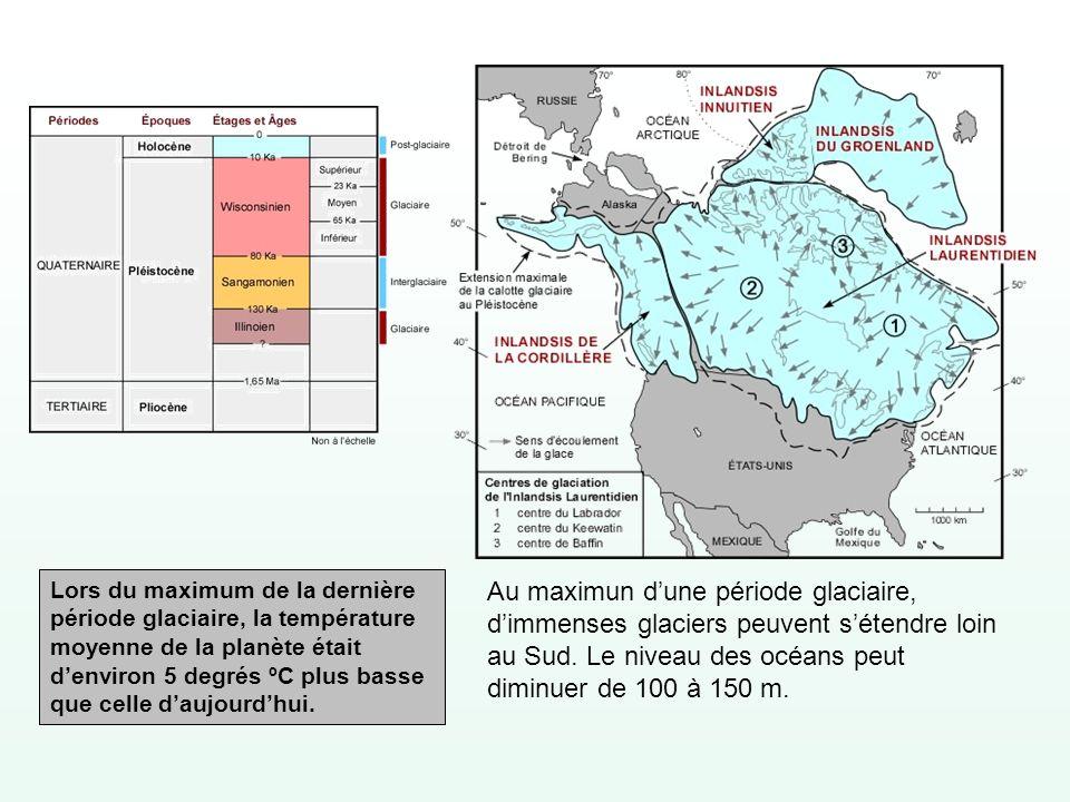 Lors du maximum de la dernière période glaciaire, la température moyenne de la planète était d'environ 5 degrés ºC plus basse que celle d'aujourd'hui.
