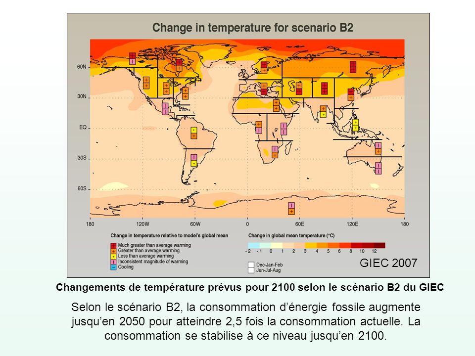 GIEC 2007 Changements de température prévus pour 2100 selon le scénario B2 du GIEC.