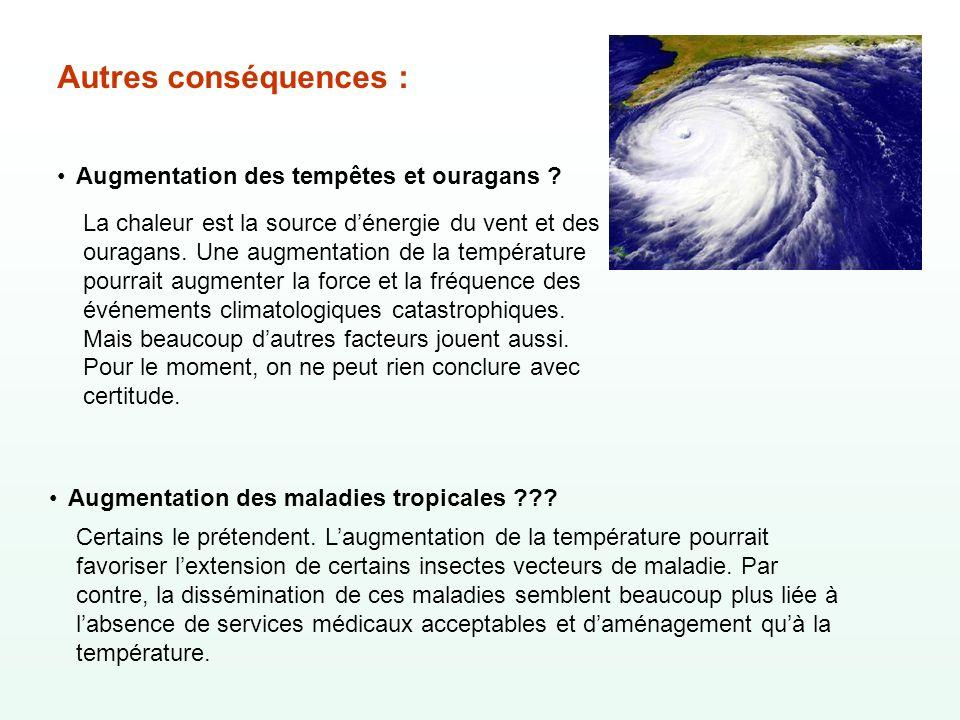 Autres conséquences : Augmentation des tempêtes et ouragans